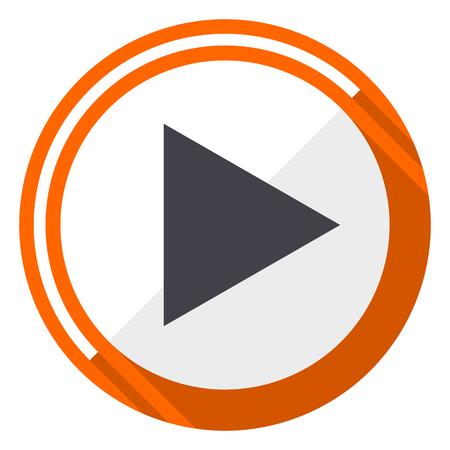 Play orange flat design vector web icon