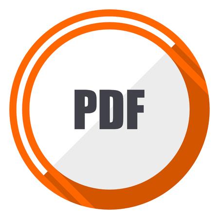Pdf orange flat design vector web icon Illustration