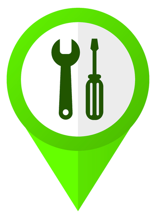 Tools green pointer vector icon isolated on white background