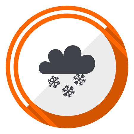 Snowing orange flat design vector web icon