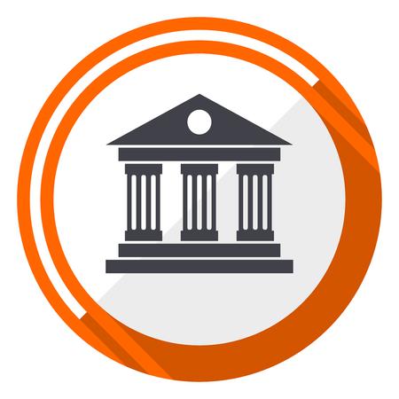 Museum flat design vector web icon. Round orange internet button isolated on white background.