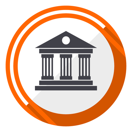 Museum flat design vector web icon. Round orange internet button isolated on white background. 写真素材 - 97895253