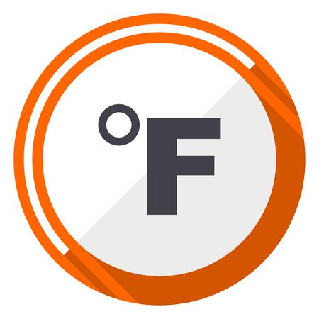 Fahrenheit flat design vector web icon. Round orange internet button isolated on white background. Ilustração