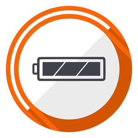 Battery flat design vector web icon. Round orange internet button isolated on white background. Stock Vector - 97895439