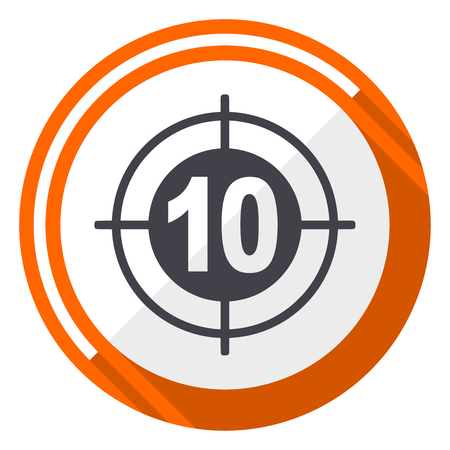 Target flat design vector web icon. Round orange internet button isolated on white background. Illustration
