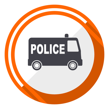 Police flat design vector web icon. Round orange internet button isolated on white background.