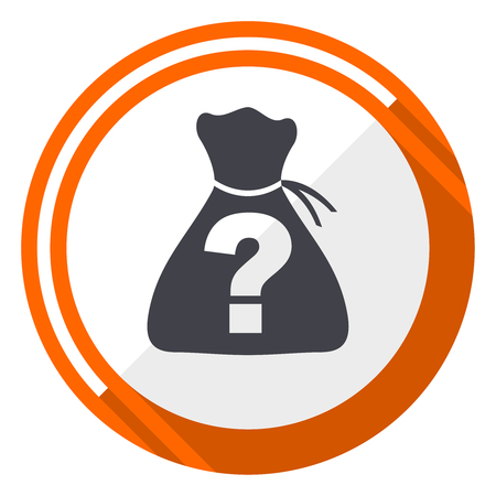 Question mark on bag flat design with bag vector web icon. Round orange internet button isolated on white background. Illustration