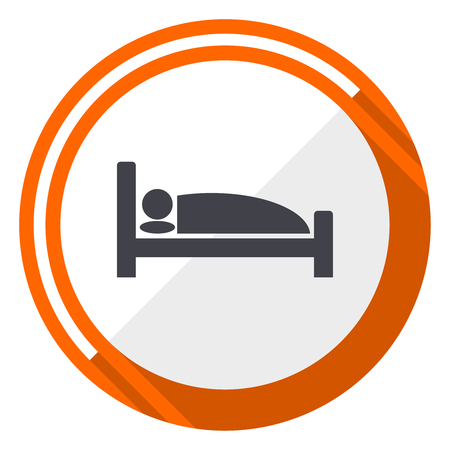 Sleeping bed for Hotel flat design vector web icon. Round orange internet button isolated on white background. Illustration