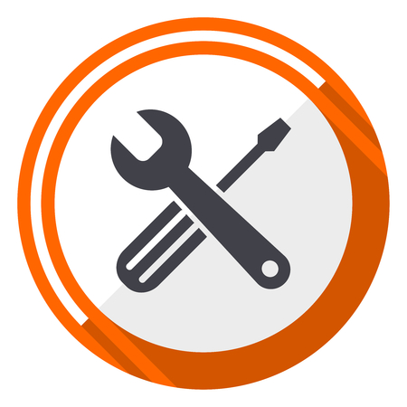 Repair Tools flat design vector web icon. Round orange internet button  isolated on white background 339755b2f74