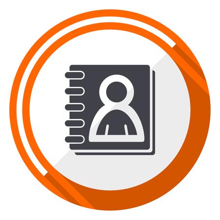 Address book flat design vector web icon. Round orange internet button isolated on white background.