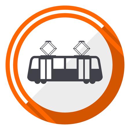 Tram flat design vector web icon. Round orange internet button isolated on white background.