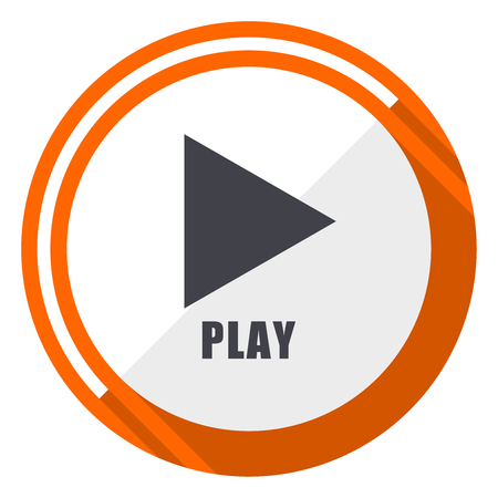 Play flat design vector web icon. Round orange internet button isolated on white background.