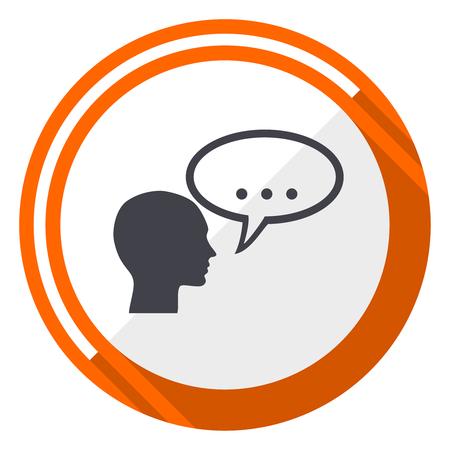 Forum flat design vector web icon. Round orange internet button isolated on white background. Illustration