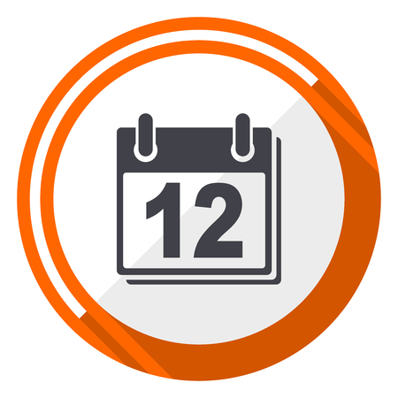 Calendar flat design vector web icon. Round orange internet button isolated on white background. Illustration