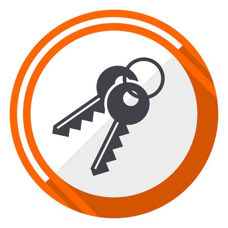 Keys flat design vector web icon. Round orange internet button isolated on white background. Ilustração