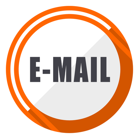 Email flat design vector web icon. Round orange internet button isolated on white background.
