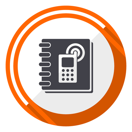 Phonebook flat design vector web icon with round orange internet button isolated on white background. Illustration