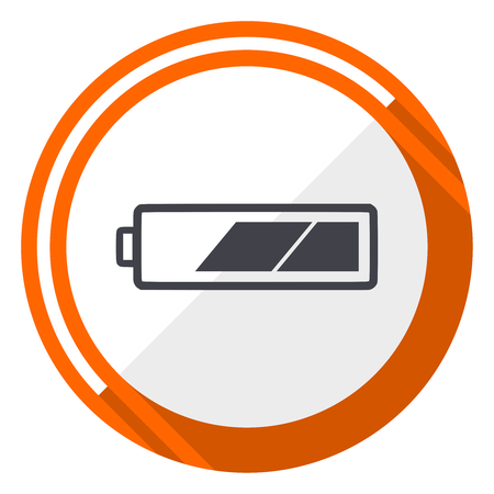 Battery flat design vector web icon. Round orange internet button isolated on white background. Illustration