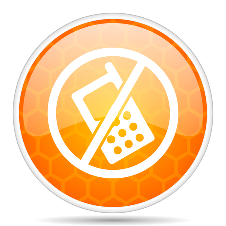No phone web icon. Round orange glossy internet button for webdesign.
