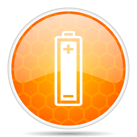 Battery web icon. Round orange glossy internet button for webdesign. Stock Photo