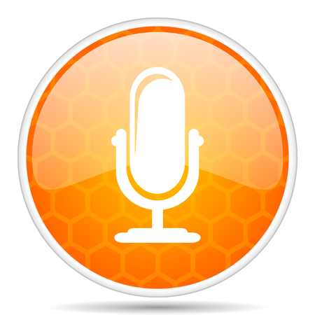 Microphone web icon. Round orange glossy internet button for webdesign. Stock fotó