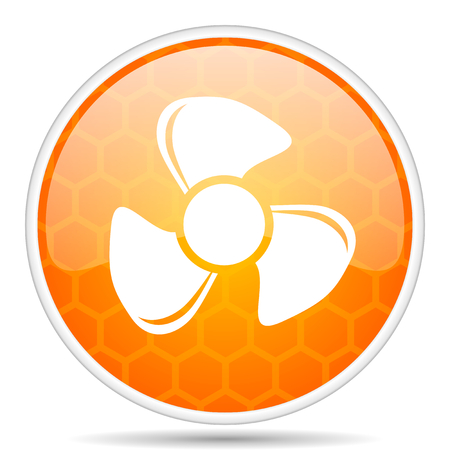 Fan web icon. Round orange glossy internet button for webdesign.