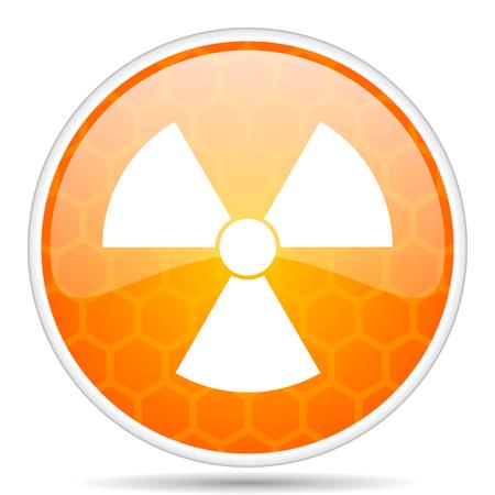 Radiation web icon. Round orange glossy internet button for webdesign. Stock Photo