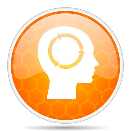 Head web icon. Round orange glossy internet button for webdesign.