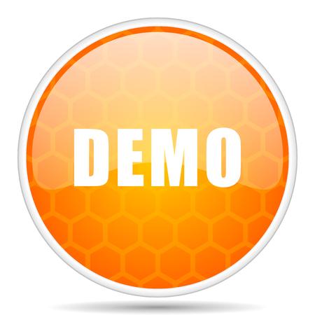 デモ Web アイコン。ウェブデザインのための丸いオレンジ色の光沢のあるインターネットボタン。