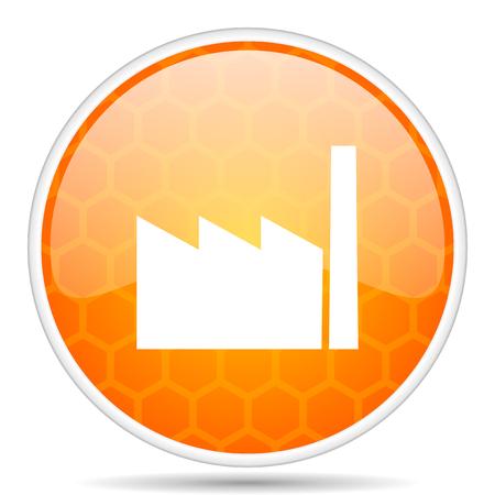 Factory web icon. Round orange glossy internet button for webdesign. Stock Photo