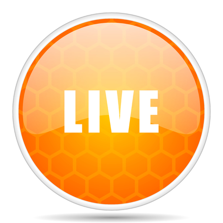 Live web icon. Round orange glossy internet button for webdesign. Stock Photo