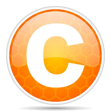 Copyright web icon. Round orange glossy internet button for webdesign. Stock Photo