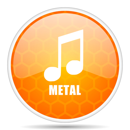 Metal music web icon. Round orange glossy internet button for webdesign. Stock Photo