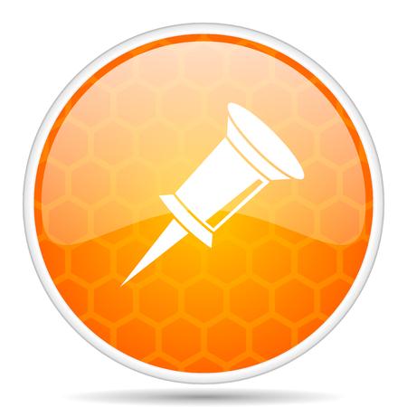 Pin web icon. Round orange glossy internet button for webdesign.