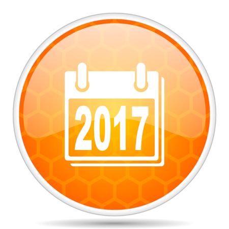 New year 2017 web icon. Round orange glossy internet button for webdesign. Foto de archivo