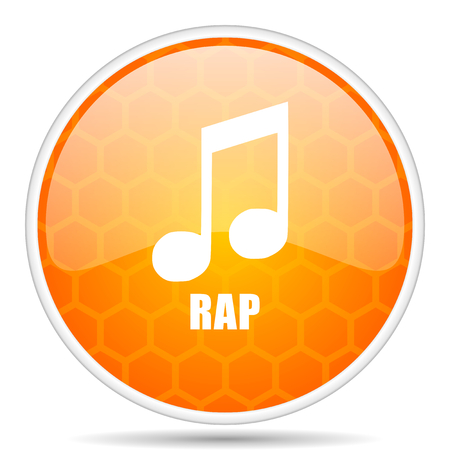 Rap music web icon. Round orange glossy internet button for webdesign. Stock Photo
