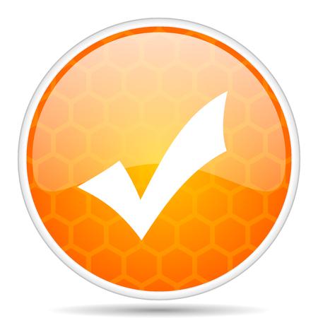 Accept web icon. Round orange glossy internet button for webdesign.