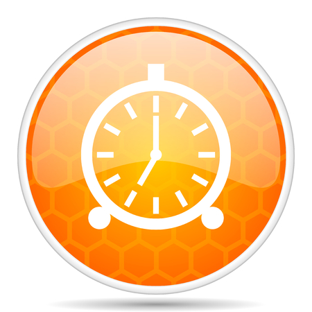Alarm web icon. Round orange glossy internet button for webdesign.