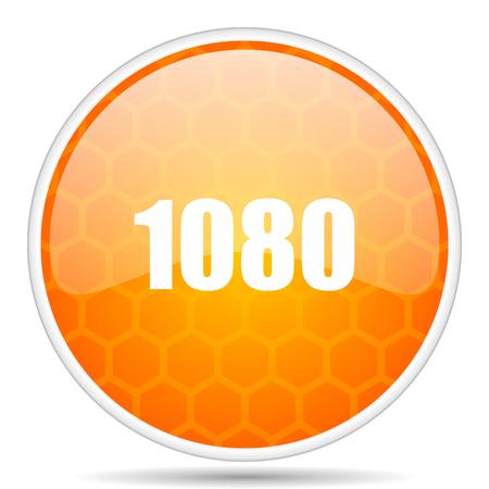 1080 web icon. Round orange glossy internet button for webdesign.
