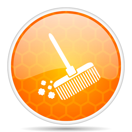 Broom web icon. Round orange glossy internet button for webdesign. Stock Photo