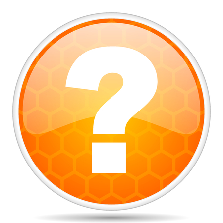 Question mark web icon. Round orange glossy internet button for webdesign. Stockfoto