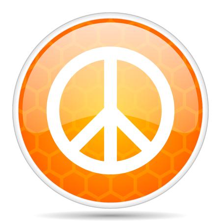 Peace web icon. Round orange glossy internet button for webdesign. Stock Photo