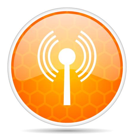 Wifi web icon. Round orange glossy internet button for webdesign.
