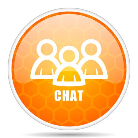 Chat web icon. Round orange glossy internet button for webdesign.