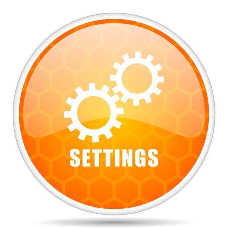 Settings web icon. Round orange glossy internet button for webdesign.