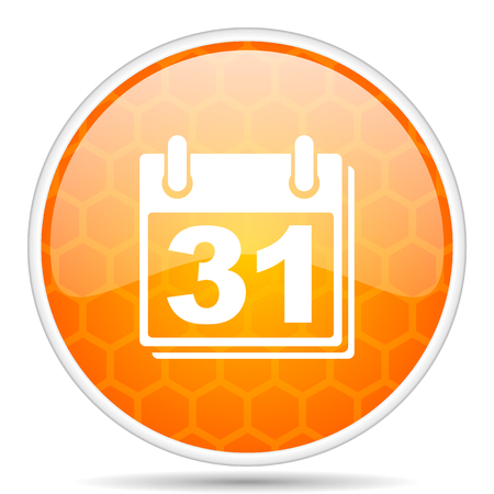 Calendar web icon. Round orange glossy internet button for webdesign. Фото со стока