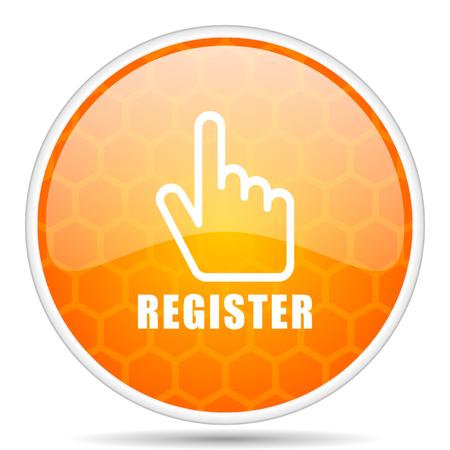 Register web icon. Round orange glossy internet button for webdesign.