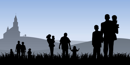young people with children going to church vector illustration  Stock Illustratie