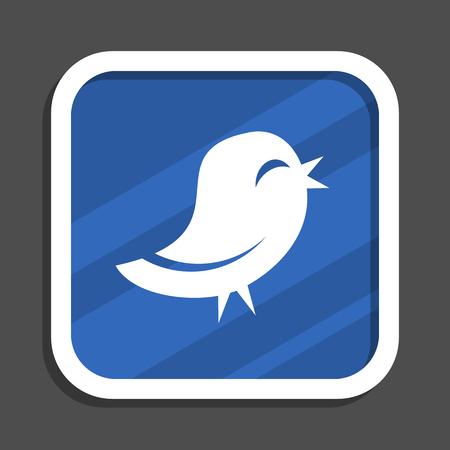 blue bird flat design square web icon Stock Photo