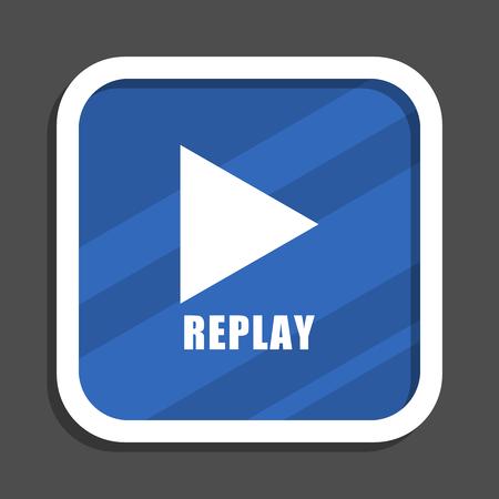 Replay blue flat design square web icon